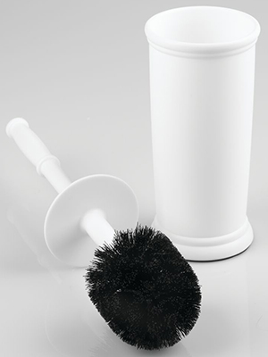 Plastic Bowl Brush in Cream and Chrome with a metal handle