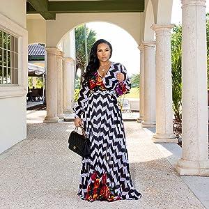 ce928dc90f8 Nuofengkudu Womens Stylish Chiffon V-Neck Printed Floral Maxi Dress ...