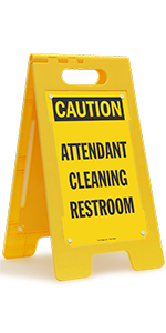 CAUTION Attendant Cleaning Restroom, Folding Floor Sign, High-Impact Plastic