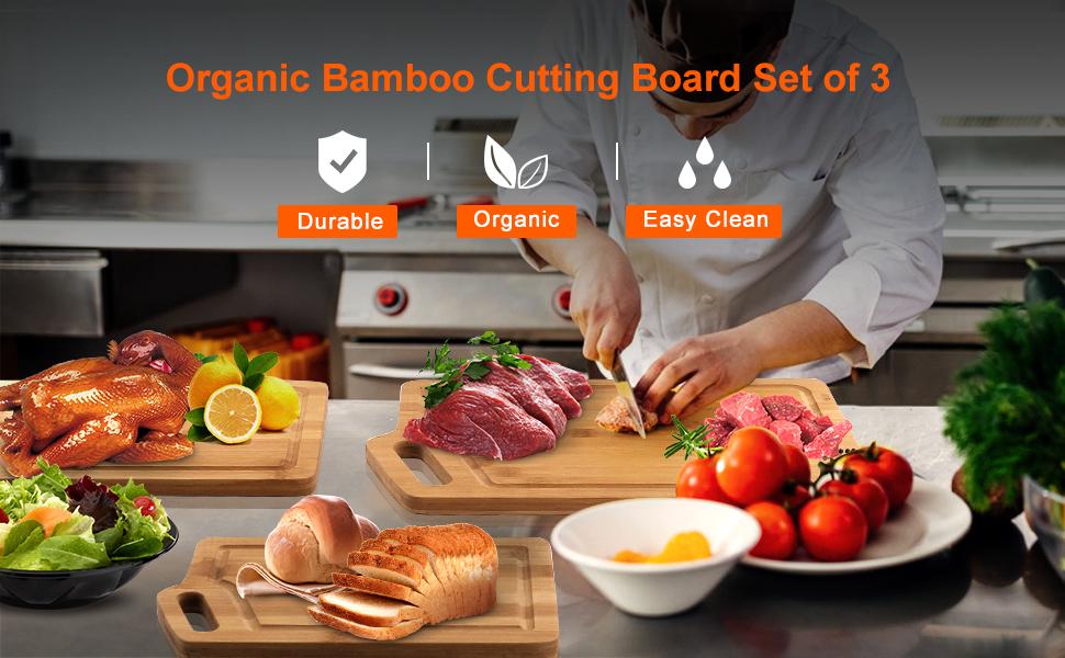 Organic Bamboo Cutting Board Set of 3