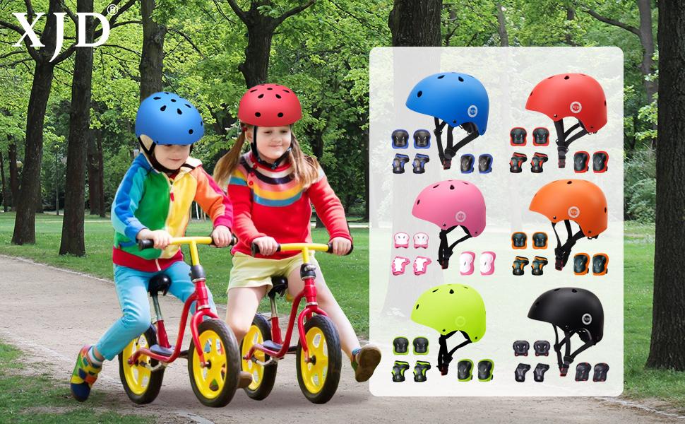 XJD Casque Vélo Enfant Sets de Protection Enfant Genouillères Coudières Protège