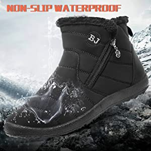 Womens Winter Snow Boots Waterproof Anti-Slip Ankle Booties Outdoor Warm Fur Lined Shoes