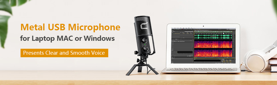 Metal USB microphone for smartphone and computer