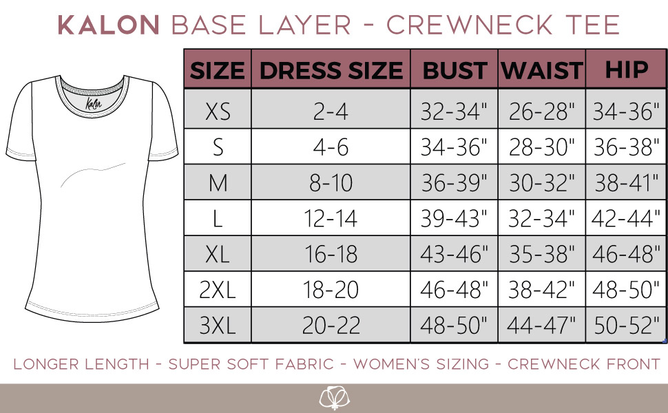 kalon size chart size shirt top waist bust hips womens guide sizing measure ladies long tall crew t