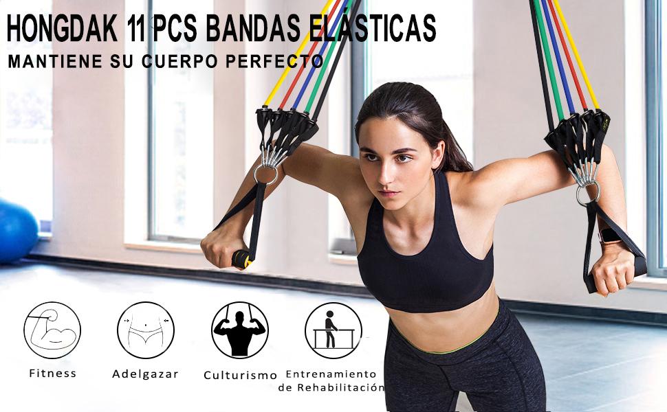 HONGDAK Bandas Elásticas Musculación Fitness, Cintas Elásticas Musculación Fitness, 11 pcs Bandas de Resistencia - 5 Tubos de látex, 2 Manijas, 2 ...