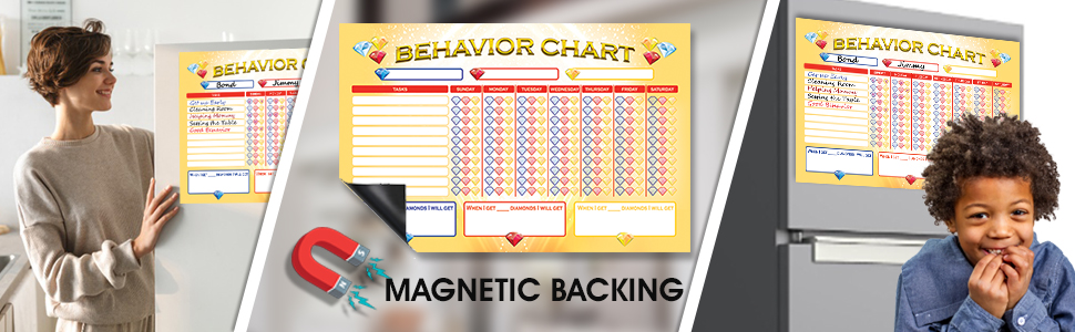 Magnet Behavior Chart for Kids dry-erase markers and erasers EASY TO CLEAN