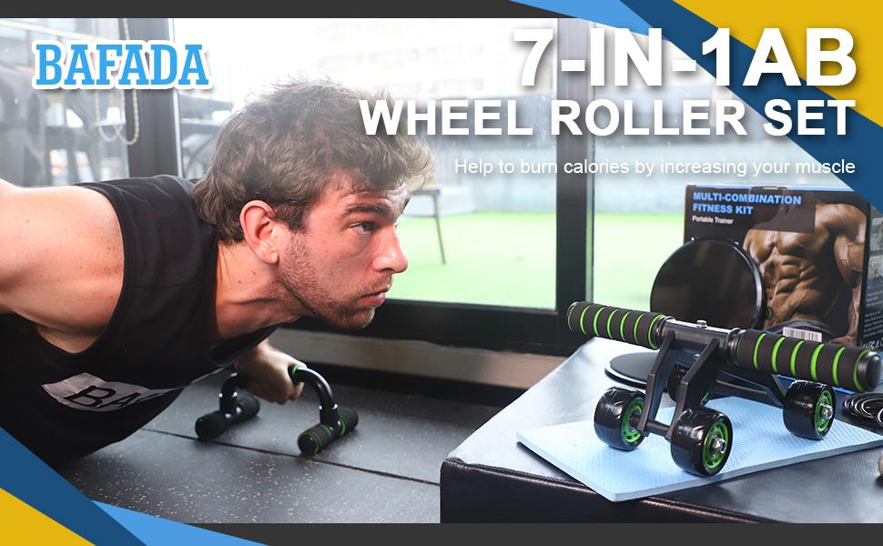 AB Roller Rodillo Abdominales 7-en-1 Set de Ejercitar,Rueda Abdominal,Push up Bars,Cuerda para Saltar,Ejercitador de dedos,Bandas de ...