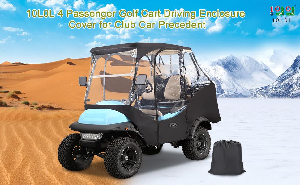 10L0L 4 Passenger Golf Cart Driving Enclosure Cover for Club Car Precedent