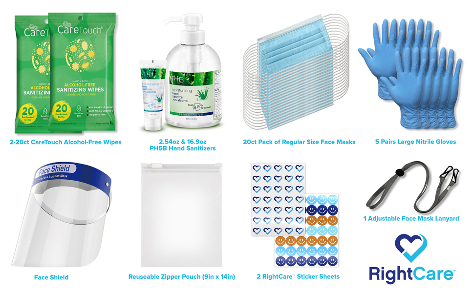 face mask hand sanitizer nitrile gloves mask lanyard sanitizing wipes stickers face shield