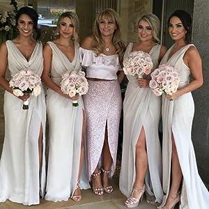 V Neck Split Bridesmaid Dresses for Women