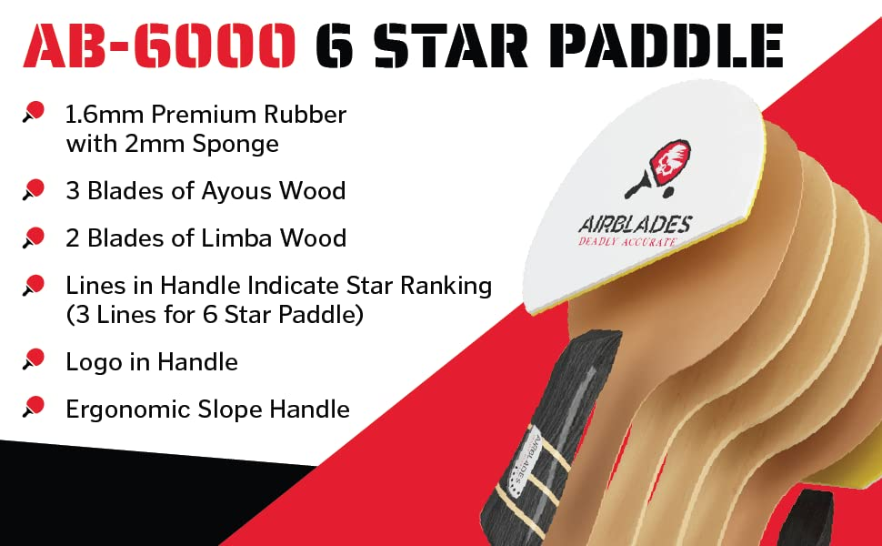 AB-6000 6 Star Paddle - lines in handle indicate star ranking (3 lines for 6 star paddle)