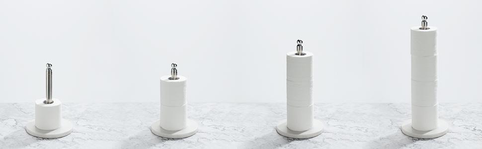 Antideslizante y Resistente para el Hogar Blanco COSYLAND Soporte para Papel de Cocina Portarrollos para Rollo 22-40cm de Acero Inoxidable Vertical Retr/áctil con Base de M/ármol de 17cm de Di/ámetro