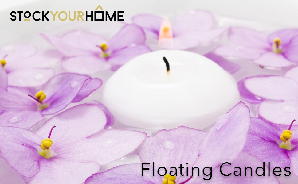 Stock Your Home 10 Hour Burning White Unscented Classic Floating Candles for Weddings, Parties