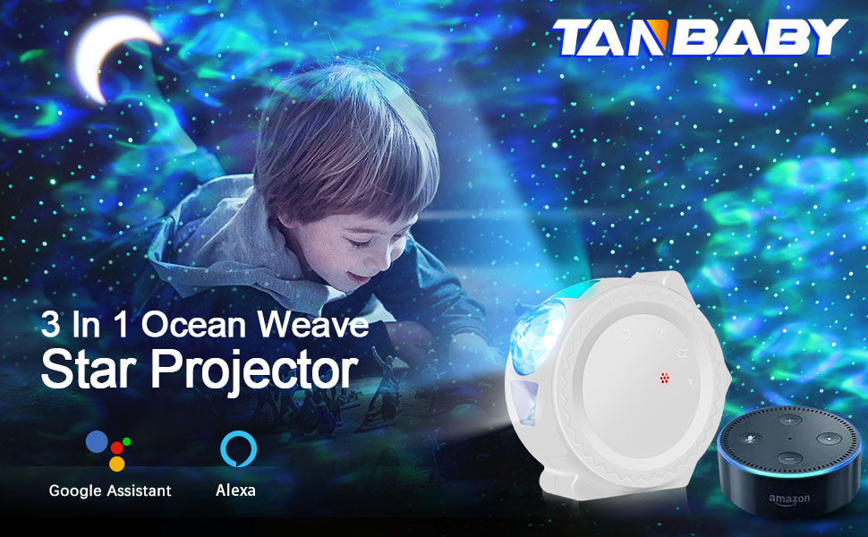 Sky Projector Voice Control Tanbaby Star Projector Galaxy Light Projector for Bedroom Star Light Projector for Bedroom DIY Light 3 in 1 Star Moon,Work with Alexa//Google Assistant