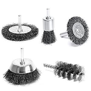 Juego de 3: 1 Cepillo de taza 75 mm 1 cepillo redondo 100 mm 1 cepillo manual para limpieza S/&R Cepillos met/álicos para taladro y amoladora