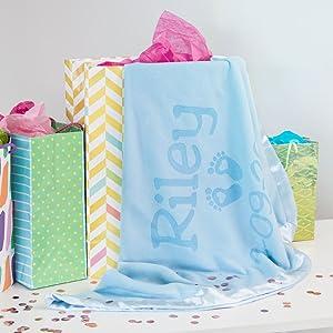Customized blue baby blanket newborn or shower gift