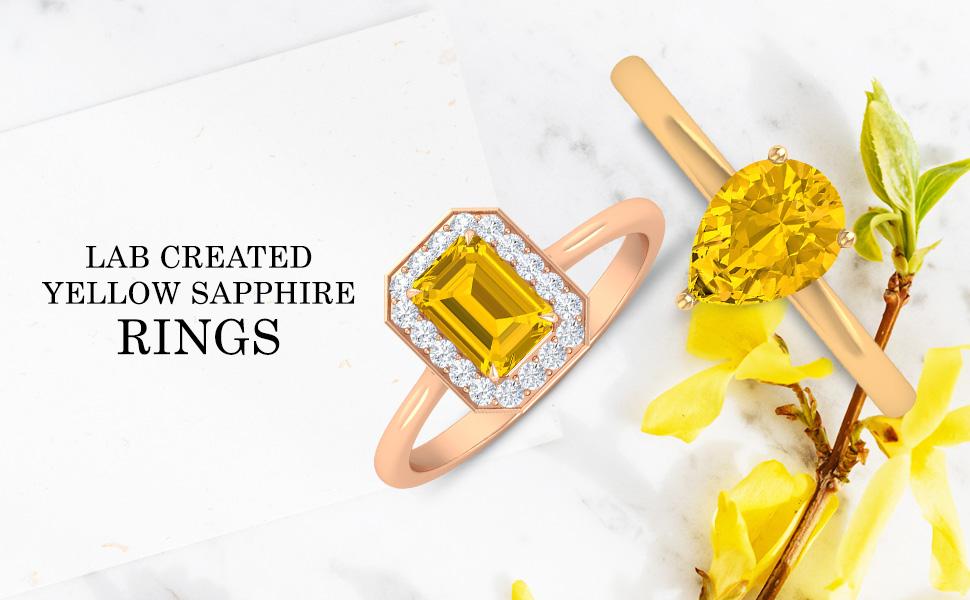 banner Yellow Sapphire Rings