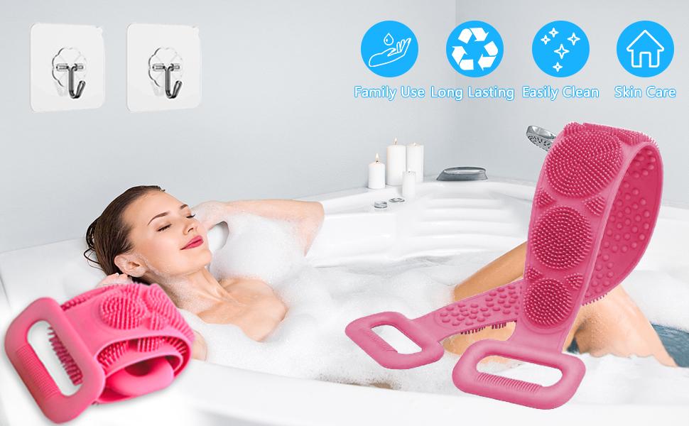 Silicone Back Scrubber for Shower Woman Man, Bath Body Brush Massage Belt Exfoliating Shower Towel