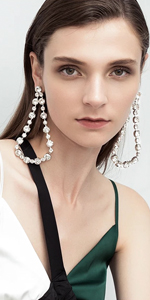 Silver Plated Clear Crystal Hollow Out Water Drop Earrings