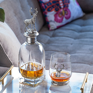 crystal glass liquor decanter with stopper and rock glasses gift set for men, bourbon decanter set