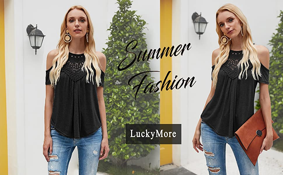 Womens Summer Casual Cold Shoulder Lace Trim Hollow Short Sleeve Pleated Flowy Shirts Tunic Top