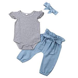 babyflying sleeveless romper jeans pants set