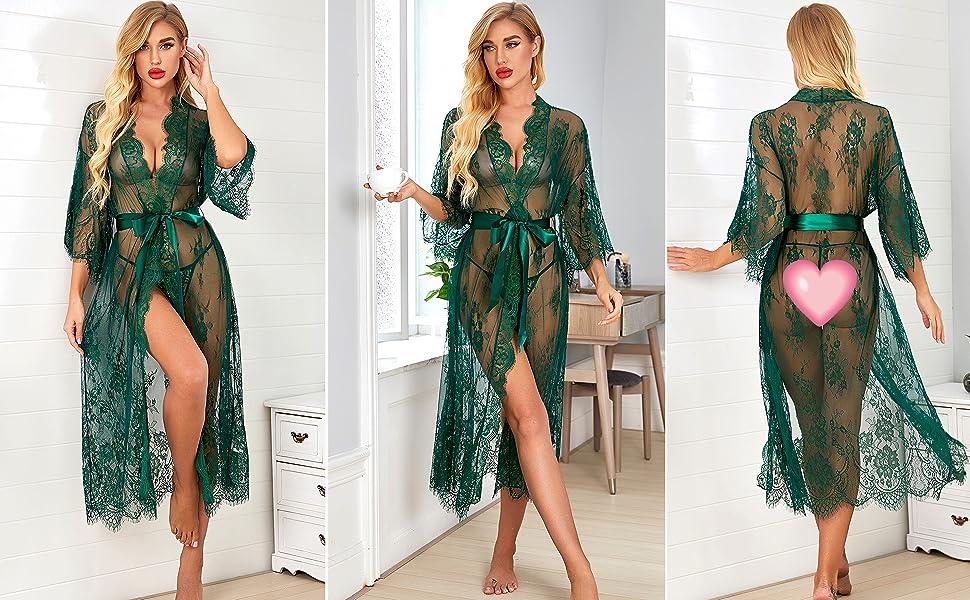 green lingerie robe