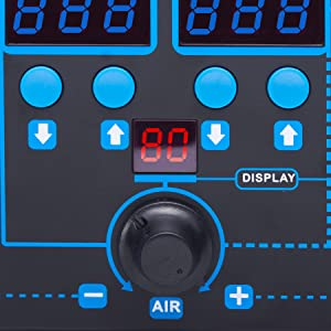 digital temperature display fan speed control dial knob hot air station
