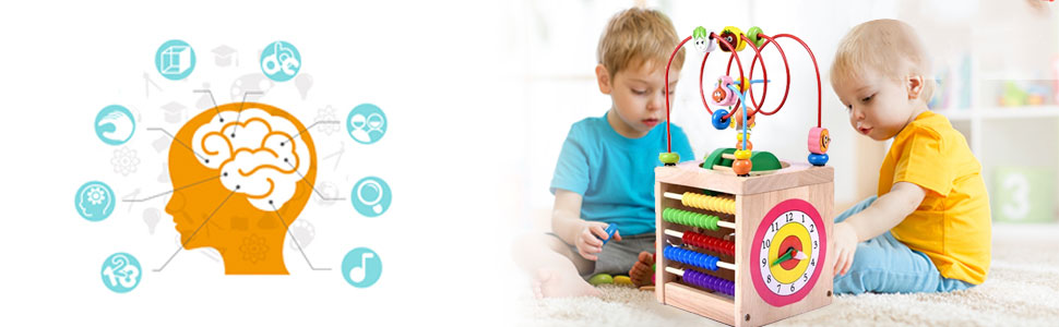 BeebeeRun Holzwürfel Spielzeug Motorikwürfel für Kinder Holz