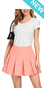 High Waisted Pleated Skirts for Women Girls Mini Skater Tennis Skorts with Shorts Pockets