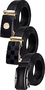 gift belt for men black leather gold buckle sliding ratchet leather bee buckle novelty gift sets