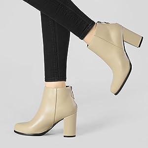 Allegra K Women's Round Toe Back Zip Block Heel Ankle Booties