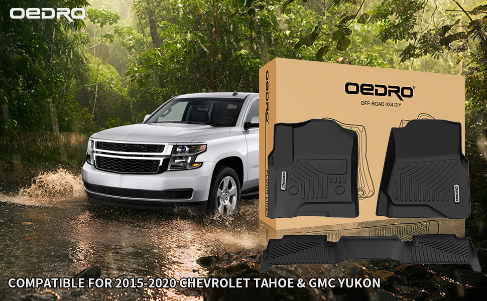 oEdRo Floor Mats Fit for 2015-2019 Chevrolet Tahoe