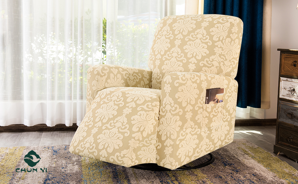 Stretch Spandex Jacquard Recliner Chair Slipcovers with Elastic Bottom Side Pocket Furniture Protector