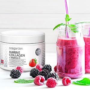 Polvo de colágeno marino noruego + vitamina C | Sabor a fresa | Péptidos hidrolizados | de bacalao noruego, ártico y salvaje | Suplemento para la piel, cabello, uñas, tendones, ligamentos |