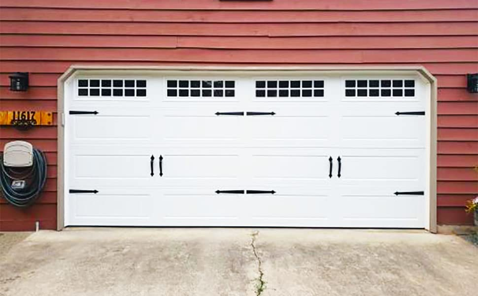 Dura Lift Ultra Life Magnetic Decorative Carriage Style Garage Door Accent Trim Hardware Four 16 Hinges Two 12 Handles Amazon Com