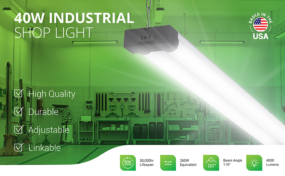 ndustrial LED Shop Light, Linkable Integrated, Surface + Suspension Mount, Pull Chain, Garage Light