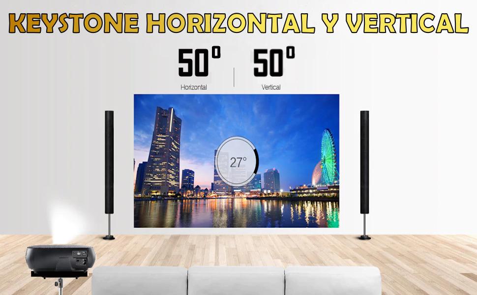 keystone horizontal y vertical 4D corrección de geometria horizontal, instalacion a techo