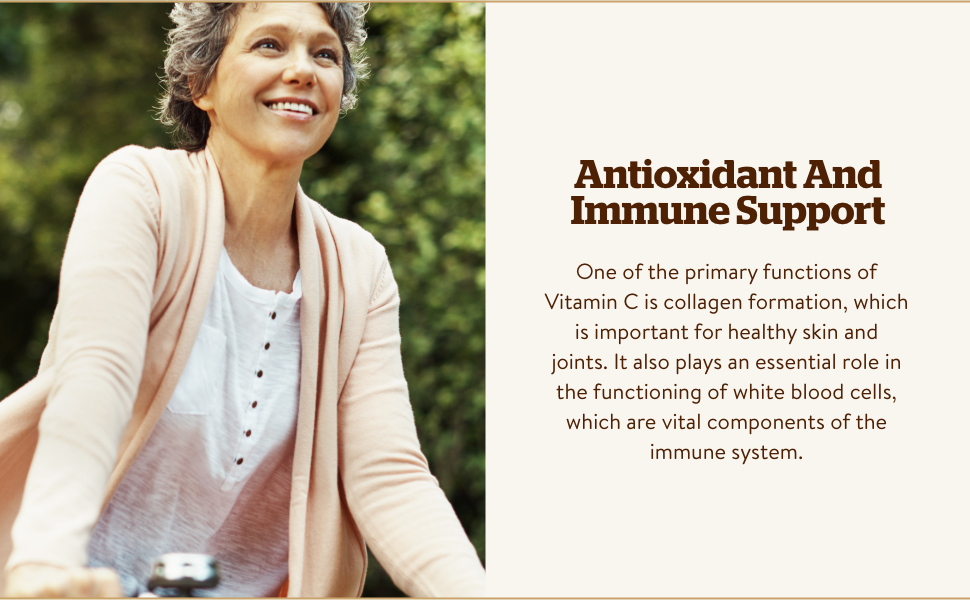 Antioxidant And Immune Support, collagen formation, healthy skin and joints., white blood cells