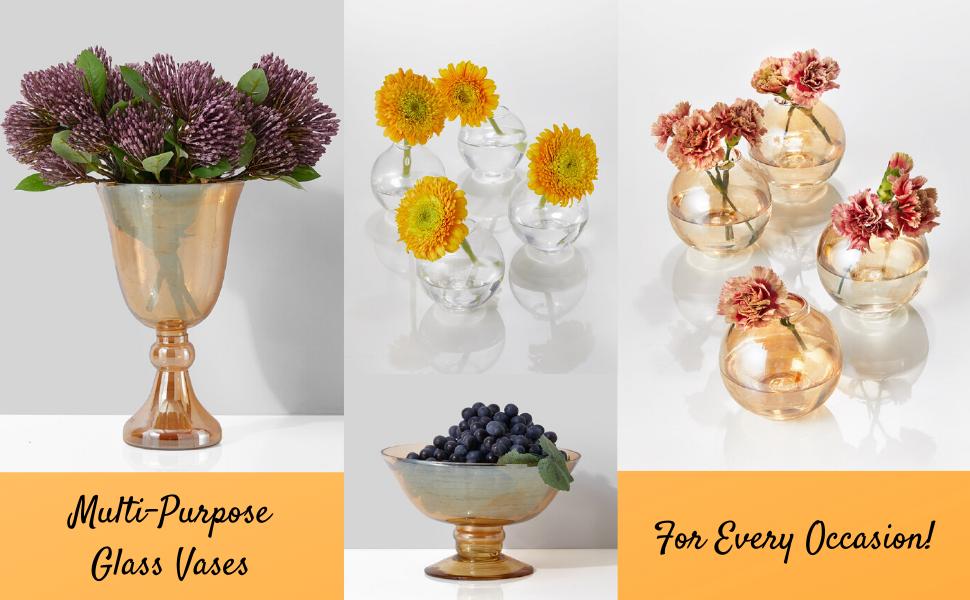 glass colored vases flowers floral arranging parties weddings restaurants spa