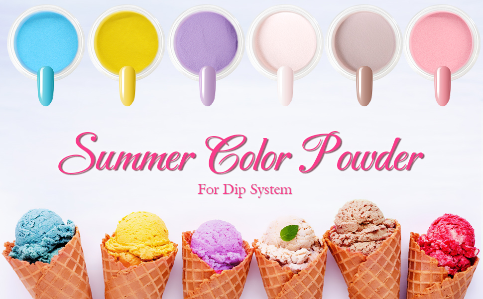 dipping powder with summer colors