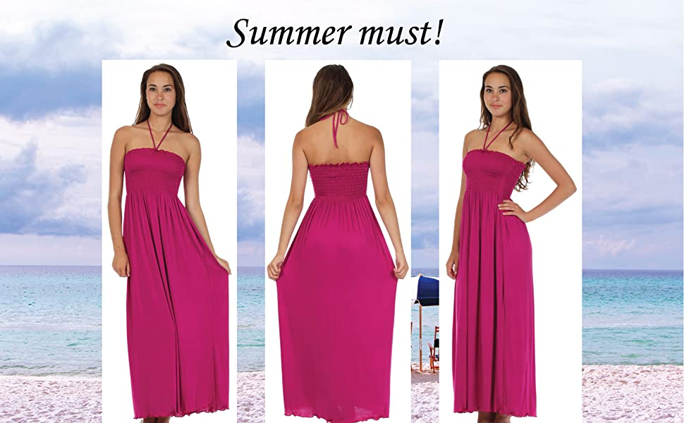 43939816796fa Sakkas Soft Jersey Feel Solid Color Smocked Bodice String Halter Long Dress