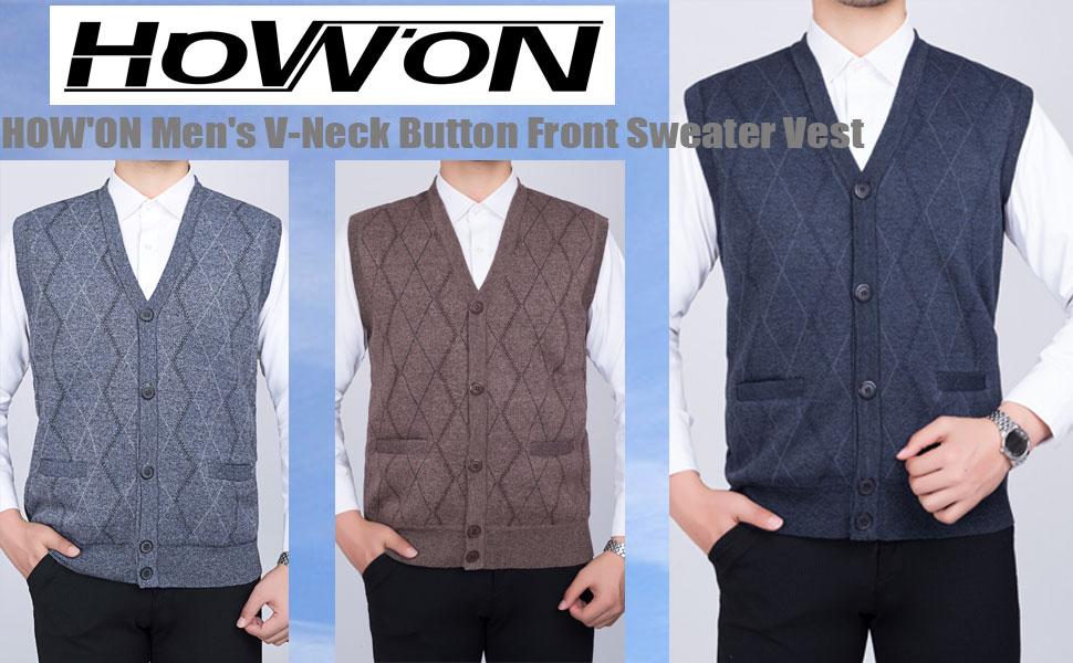 Men's V-Neck Button Front Sweater Vest Mens Knitwear Cardigan Waistcoat Mens V Neck Sweater Vest
