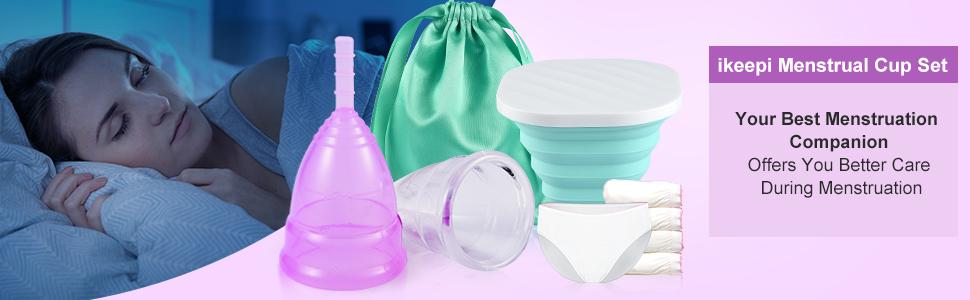 ikeepi Juego de vasos menstruales suaves y reutilizables con ...