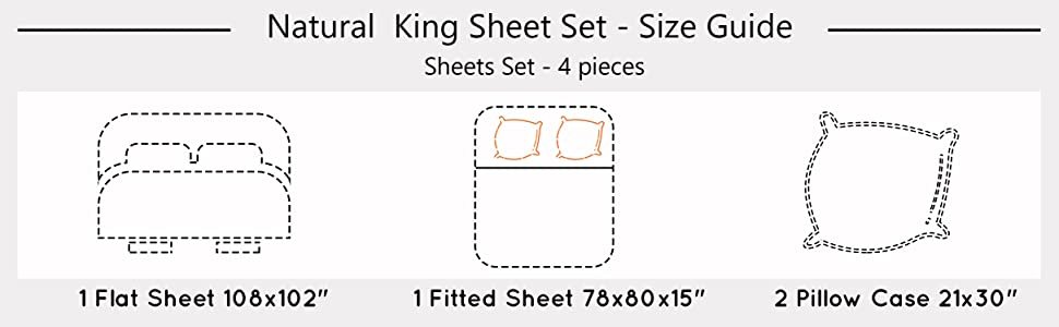 Organic Cotton Natural King Sheet sets