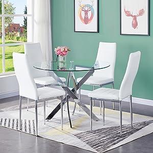 GOLDFAN Tavolo da Pranzo e Sedie Set 4 Tavoli da Cucina Rotondi in Vetro Moderno per la Casa, Pelle PU Grigia