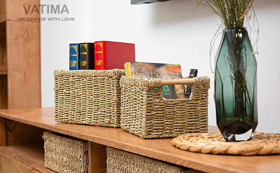 seagrass basket for table organisation