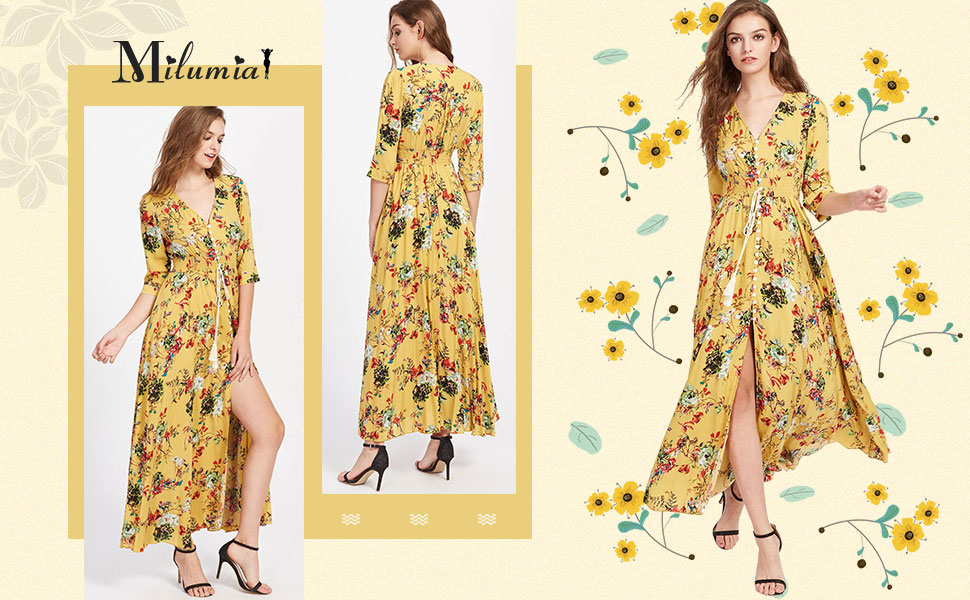 women maxi dresses v neck half sleeves floral flared flowy vacation casual dress
