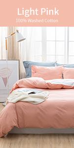 100% Washed Cotton Duvet Cover Ultra Soft Solid Color Modern Style Bedding Set Natural Wrinkled Look
