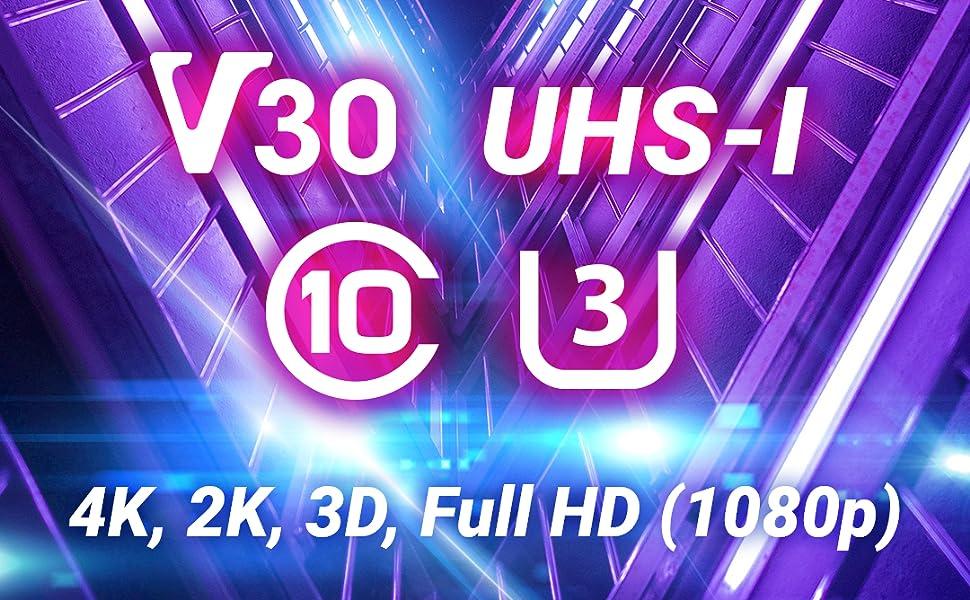 AXVARY - Tarjeta De Memoria Micro SDXC de 128 GB Clase 10, UHS-1, U3, V30, 4K, 2K, 3D, Full HD con Adaptador de Regalo (128 GB)
